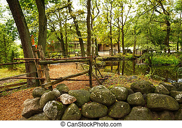 Rural scene at Skansen, the first open-air museum and zoo,...
