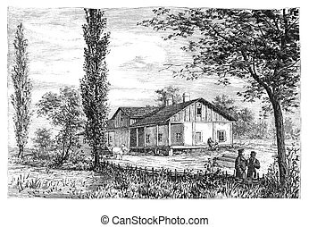 Rural scene - POLAND - CIRCA 1880: Illustration taken from a...