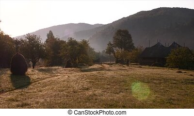 Rural scene. Summer holidays in the village. Traditional...