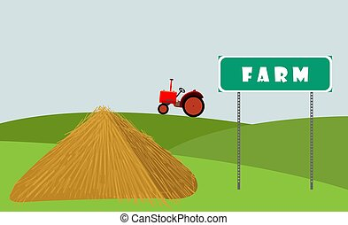 Rural scene. The tractor is driving across the field. Hay lies near the sign.
