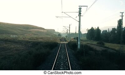Rural scene through the passenger train window - Travelling...