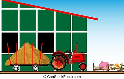 Rural scene. Tractor with hay near the farm.