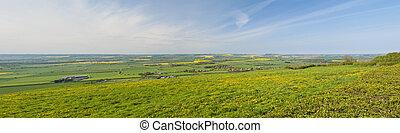 Rural scene view over fields