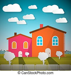 Rural Scene with Houses and Mountains on Background Vector Illustration