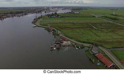 Rural scene with windmills and fields, aerial - Aerial shot...