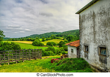 Rural scenery in South West France. - A rural view of...
