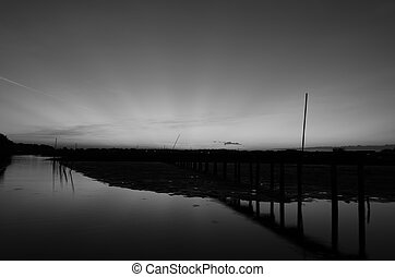Rural scenes. - Black and white image of rural Thailand.