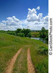 rural, serein, paysage
