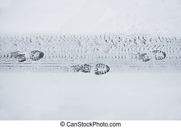 rural, shoeprints, route, hiver
