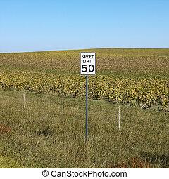 Rural speed limit sign.