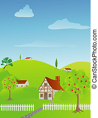 Rural Spring Scene - Rural spring scene with cottages and...
