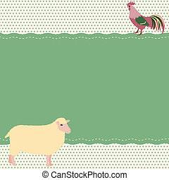 Rural style card with sheep and rooster