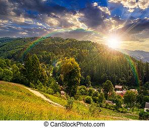 rural summer landscape in high mountains at sunset - rural...