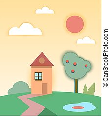 Rural summer landscape with house and tree