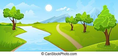 Rural summer landscape with river - Cartoon illustration of...