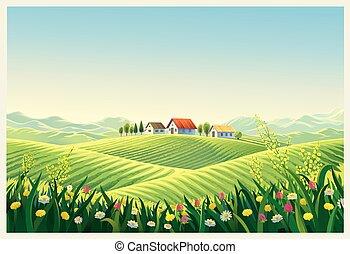 Rural summer landscape with village