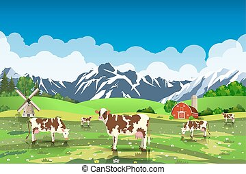 Rural sunrise landscape with cows and farm