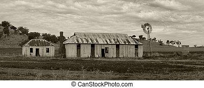 rural, terrains agricoles, éolienne, et, outbuildings