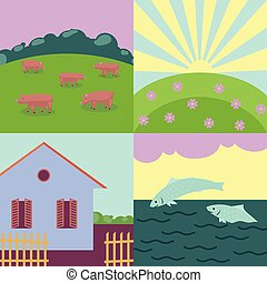 rural, thème, été