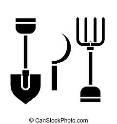 rural tools, shovel, hayfork, reaping hook icon, vector...