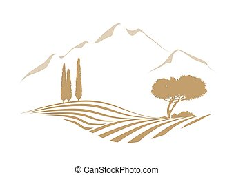 rural vektor landscape with mountains - rural vector...