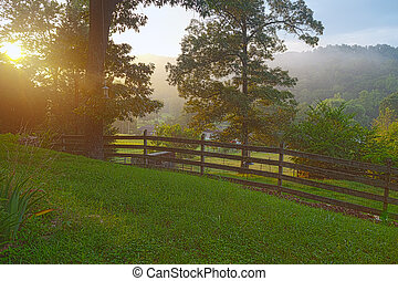 Rural view with fence in Clinton, Tennessee USA
