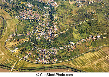 rural, vila, -, vista aérea