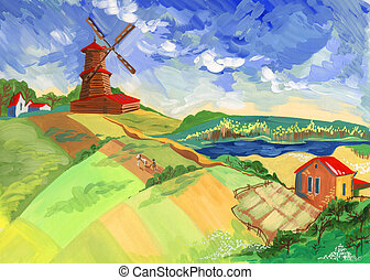 The mill, houses and a farmer on the background of the rural landscape in the summer. Painting in gouache on paper. Is clearly visible texture paint. Painting professionally scanned and retouched. Excellent choice for the illustration and posters.