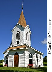 Rural white country church - Beautiful rural white country...