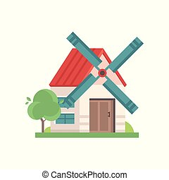 Rural windmill building, ecological agricultural manufacturing vector Illustrations isolated on a white background