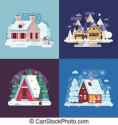 Rural Winter Houses and Cabins Landscapes