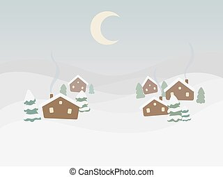 Rural winter landscape cartoon vector illustration