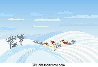 Rural winter landscape - Countryside winter landscape. Farm ...