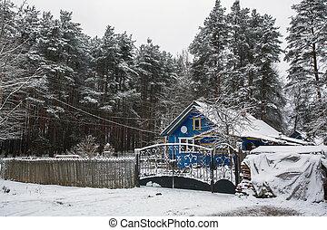 Rural winter landscape in the Republic of Karelia, Russia.