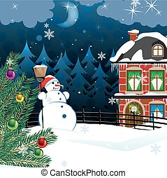 Rural winter landscape - snowman with a broom and a ...