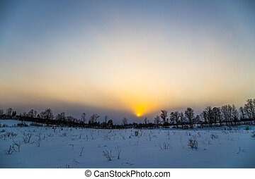 Rural Winter Landscape View