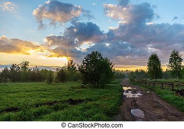 rurale, alba, paesaggio