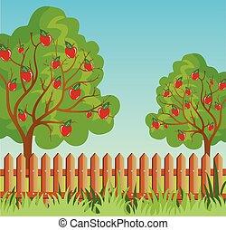 rurale, albero, mela, paesaggio