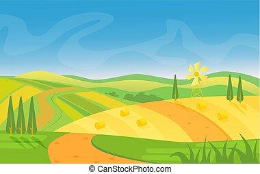 rurale, bello, paesaggio., campi, e, colline, a, alba, vettore, illustration.