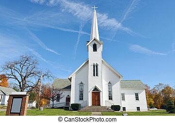 rurale, chiesa, midwest, ohio, appresso, akron, stati uniti