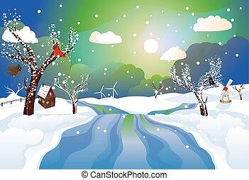 rurale, fiume, inverno