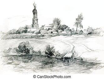 rurale, hand-drawn, sketch., paesaggio