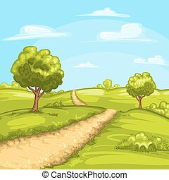 rurale, illustrazione, paesaggio