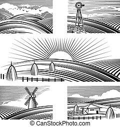 rurale, paesaggi, retro
