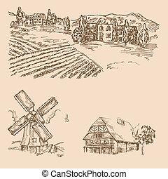 rurale, paesaggio., mano, disegnato, vigneto, casa fattoria, e, windmill., vettore, illustrazione, in, schizzo, stile