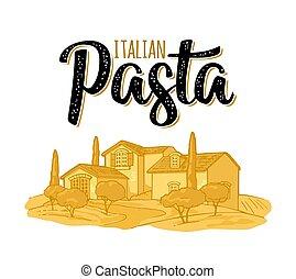 rurale, scrittura, lettering., paesaggio, calligraphic, pasta, fattoria, italiano, illustrazione