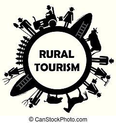 rurale, turismo, icona
