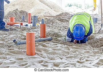 rurociąg, montaż, gleba, pracownik, zbudowanie, piaszczysty