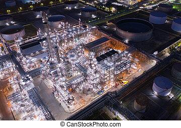 rurociąg, przemysłowy, stal, noc, rafineria, fabryka, prospekt, antena, nafta, gaz, składowy zbiornik