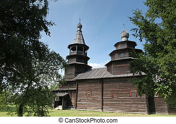 rus, iglesia, viejo, grande, madera, ortodox, novgorod, (...